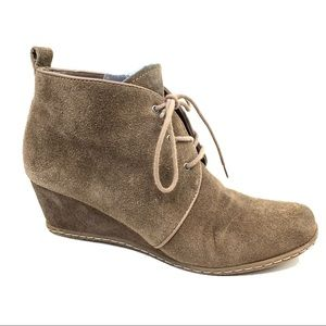 Franco Sarto wedge suede lace up ankle boots 7.5